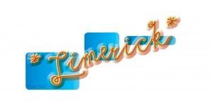 """Schriftzug zum """"Buch-Limerick"""": gelbe Schrift auf blauen Kästen"""