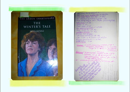 """Cover von """"The Winter's Tale / Das Wintermärchen"""" und handschriftliche Seite mit """"Spickwissen"""""""