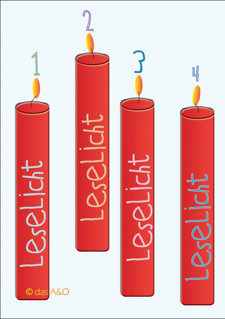 """4 rote Kerzen, jeweils beschriftet als """"Leselicht"""""""