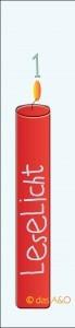 """1 rote Kerze mit der Beschriftung """"Leselicht"""" zum 1. Advent"""