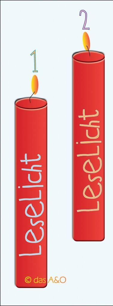 """2 rote Kerzen. Jeweils beschriftet mit """"Leselicht"""""""