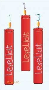 """3 rote Kerzen. Jeweils beschriftet mit """"Leselicht"""""""