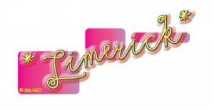 englisches Limerick Logo, gelbe Schrift auf pinkem Hintergrund