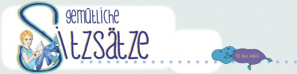 Logo des Literaturblogs gemütliche Sitzsätze: das A&O sitzt im S und schreibt, Kissen liegen neben dem Schriftzug