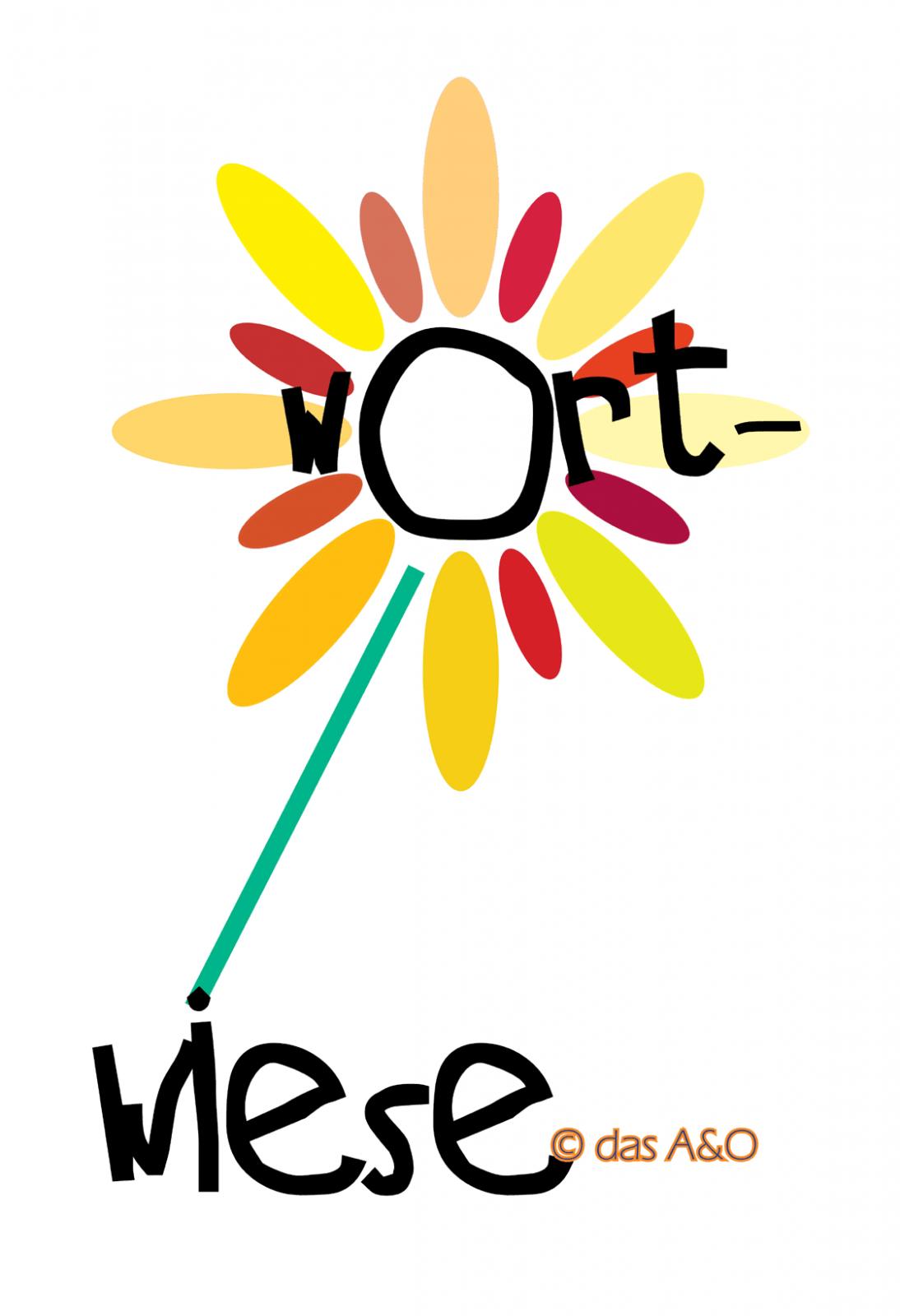 """Illustration einer gelb-orange Blume mit der eingefügten Beschriftung """"Wortwiese"""""""