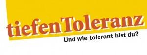 """Motto des CSD Stuttgarts 2013 """"tiefenToelranz"""" auf gelben Untergrund"""