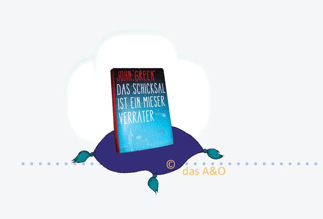 """Cover von """"Das Schicksal ist ein mieser Verräter"""" auf einem lila Sitzkissen"""