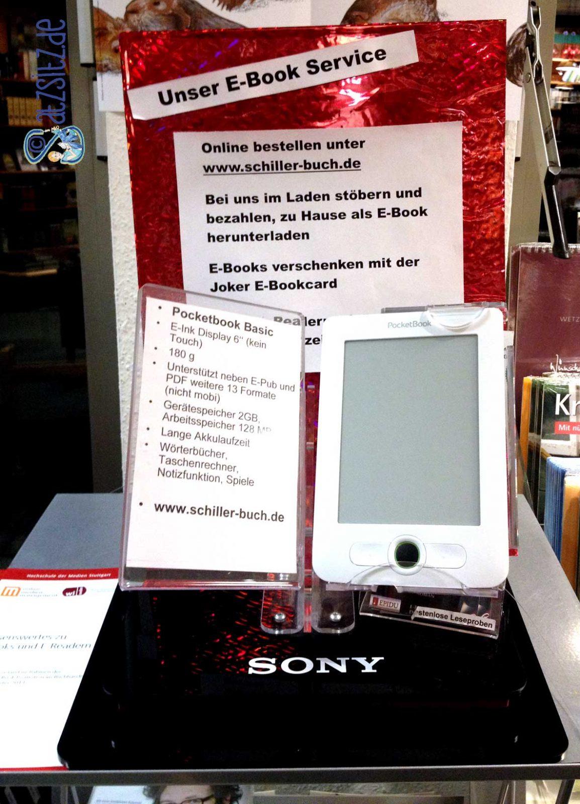 Dekorierter E-Book Verkaufsstand in der Schiller Buchhandlung Vaihingen