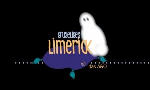 Illustration um Halloween Limerick: Geist auf lila Sitzkissen in dunkler Umgebung