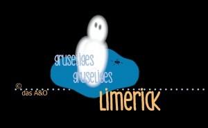 Illustration um Halloween Limerick: Geist auf blauem Sitzkissen in dunkler Umgebung