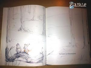 """Doppelseite aus """"Herr Eichhorn und der erste Schnee"""", große Illustration von kleinem Igel + Eichhörnchen"""