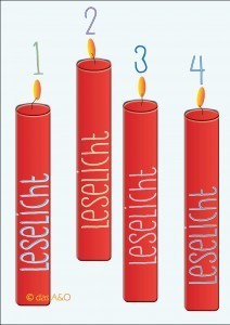 """Vier rote Kerzen mit der Aufschrift """"Leselicht"""" zum 4. Advent"""