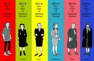 Bunte Lesezeichen von Joanna Walsh für #readwomen2014 das 6 Autorinnen zeigt