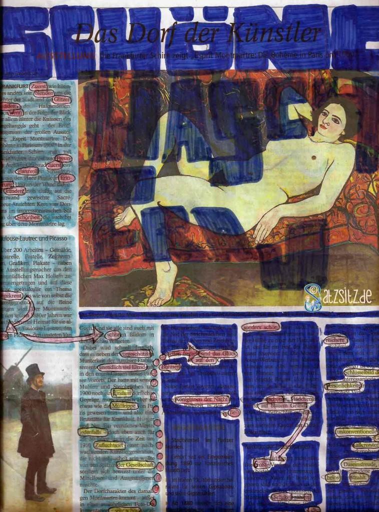 Zeitungsseite: Alle Zeilen dunkelblau übermalt, außer das versteckte Gedicht ...