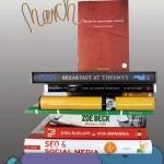 """9 neue Bücher stapeln sich auf 2 gemalten Sitzkissen von das A&O. Dazu die Beschriftung: Bücherbeute March"""""""
