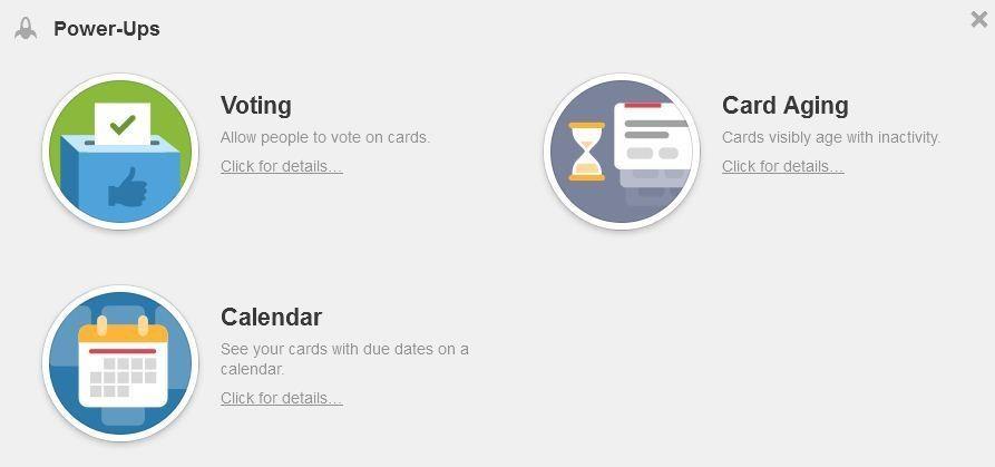 Power-Up Auswahl für ein Trello-Board. Voting, Card Aging und Calendar mit Icons.