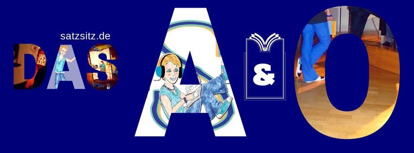 """blauer Hintergrund mit Schriftzg """"das A&O"""". In den Buchstaben sind Fotos und Illustrationen für den Literaturblog zu sehen."""