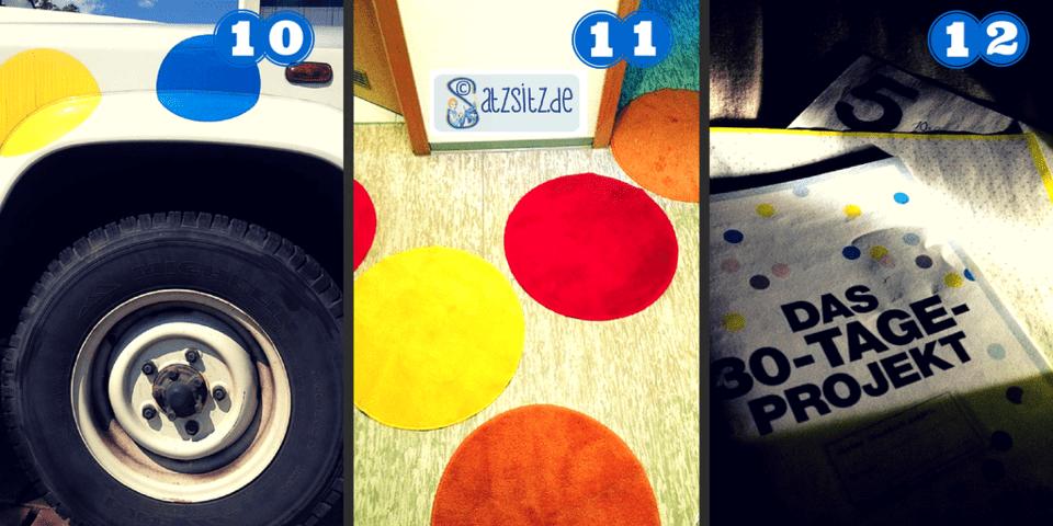 drei Bilder nebeneinander mit runden Formen: Autoreifen, bunte Teppiche, heft mit Punkten. Abendserie der #12bildertag Blogparade im August