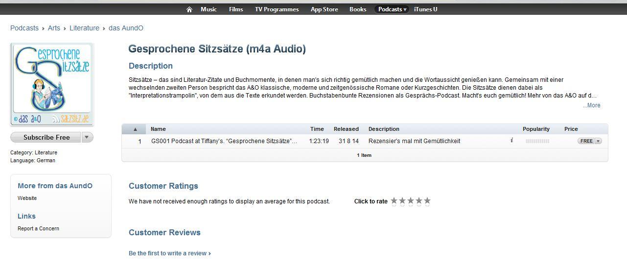 """Ansicht des Literatur Podcast """"Gesprochene Sitzsätze"""" im iTunes Store"""