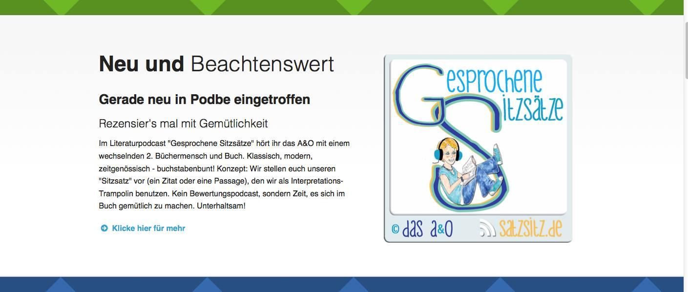 """Screenshot von """"Gesprochene Sitzsätze"""" im Podcast Verzeichnis Podbe"""
