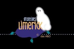 """schwarzer Background. Auf einem lila Kissen: """"gruseliges Limerick"""" von das A&O, daneben schwebt ein Gespenst"""