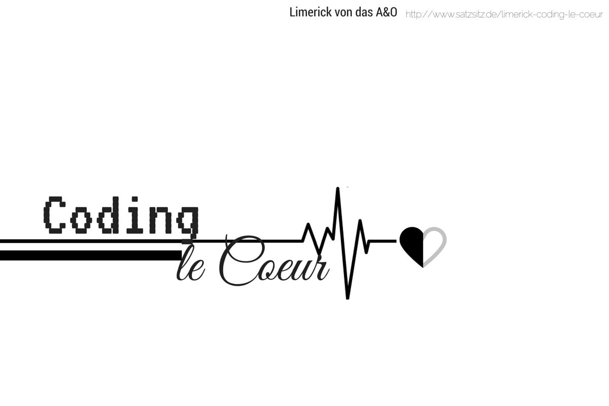 """Schwarzweiß Illustration für das englsiche Limerick: Nur Text """"Coding le Coeur"""" mit Herz"""