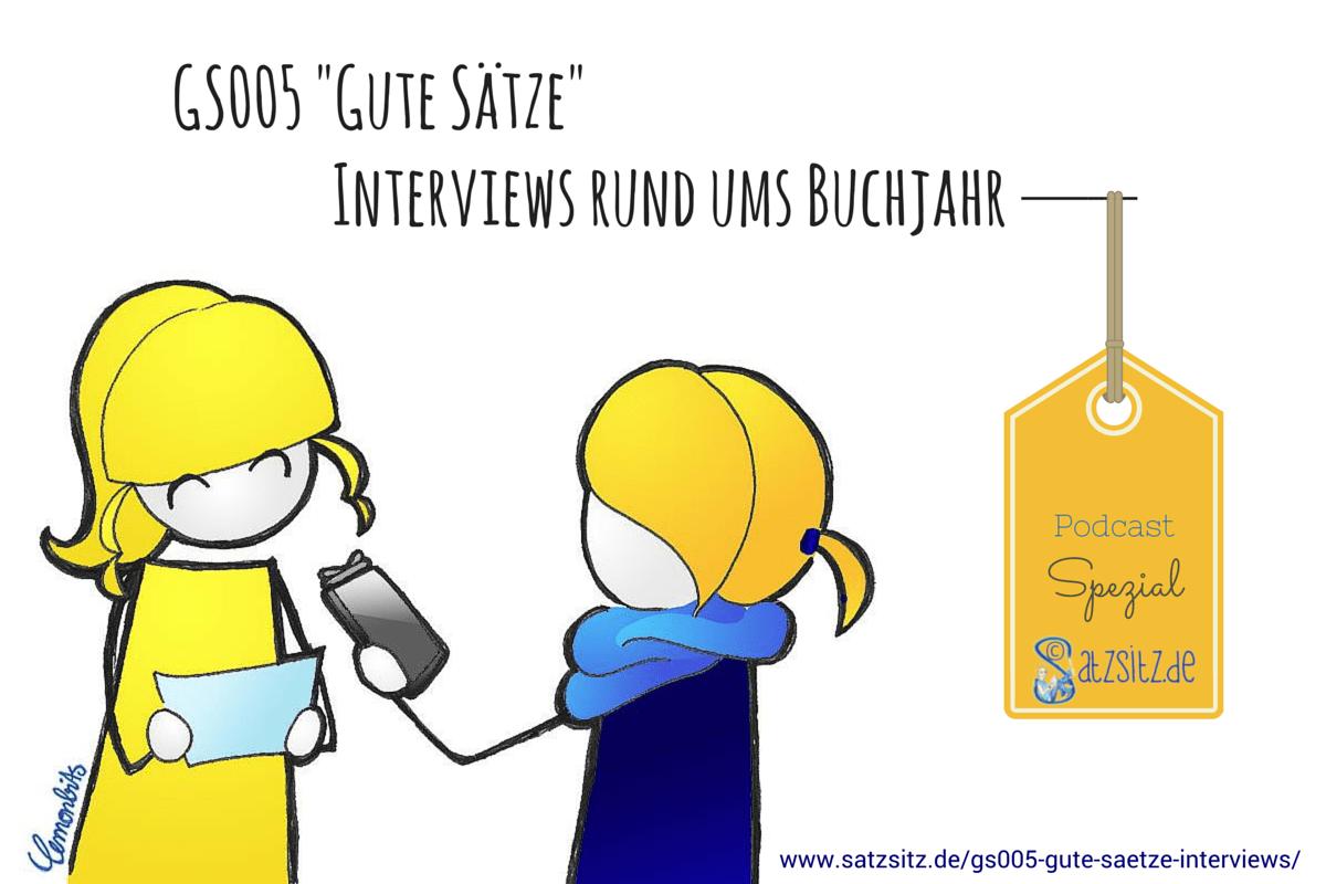 Illustration von lemonbits, die sie (in gelb) im Interview für den Literaturpodcast mit das A&O (in blau) zeigt