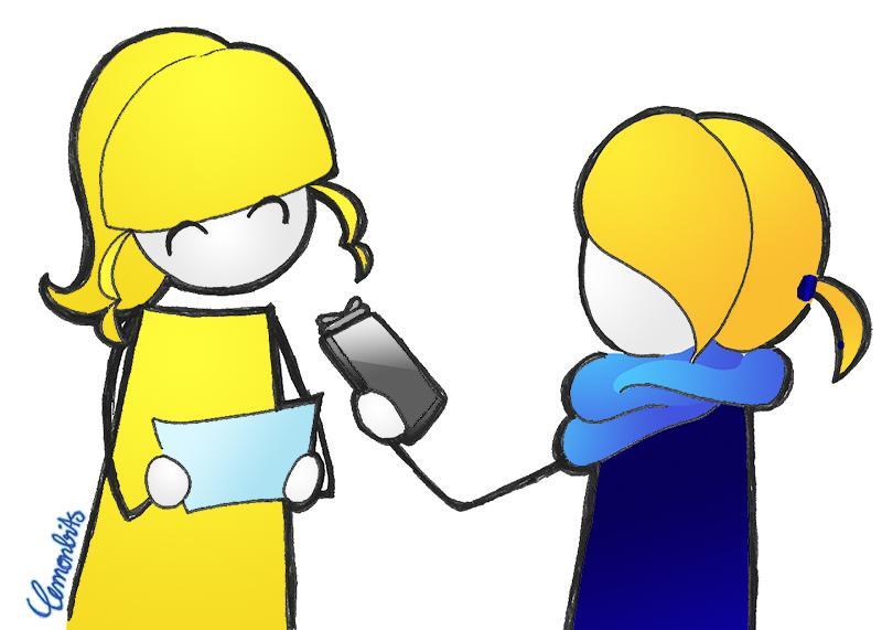 Illustration von lemonbits (ganz gelb) mit das A&O (ganz blau), gemeinsam im Interview