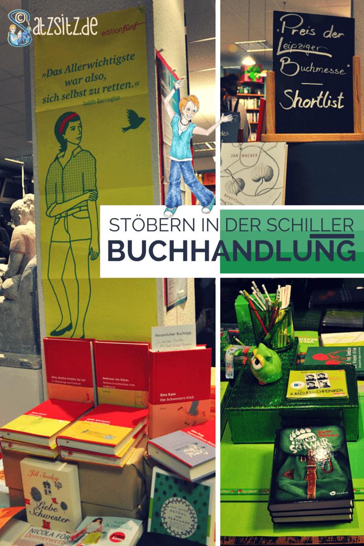 Collage aus Bücherstapel in der Schiller Buchhandlung mit Edition fünf und einem grünen Tisch