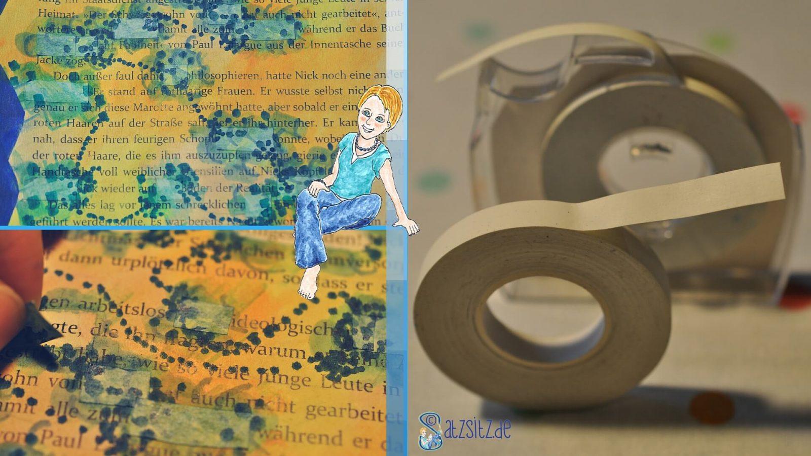 Collage in drei Bildern: das Korrekturband auf einem #verstvers und wie es abgezogen wird