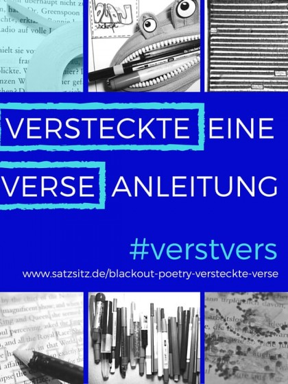 """Collage voller Blackout Poetry Utensilien um den Text: """"Versteckte Verse: eine Anleitung"""" auf blauem Hintergrund"""