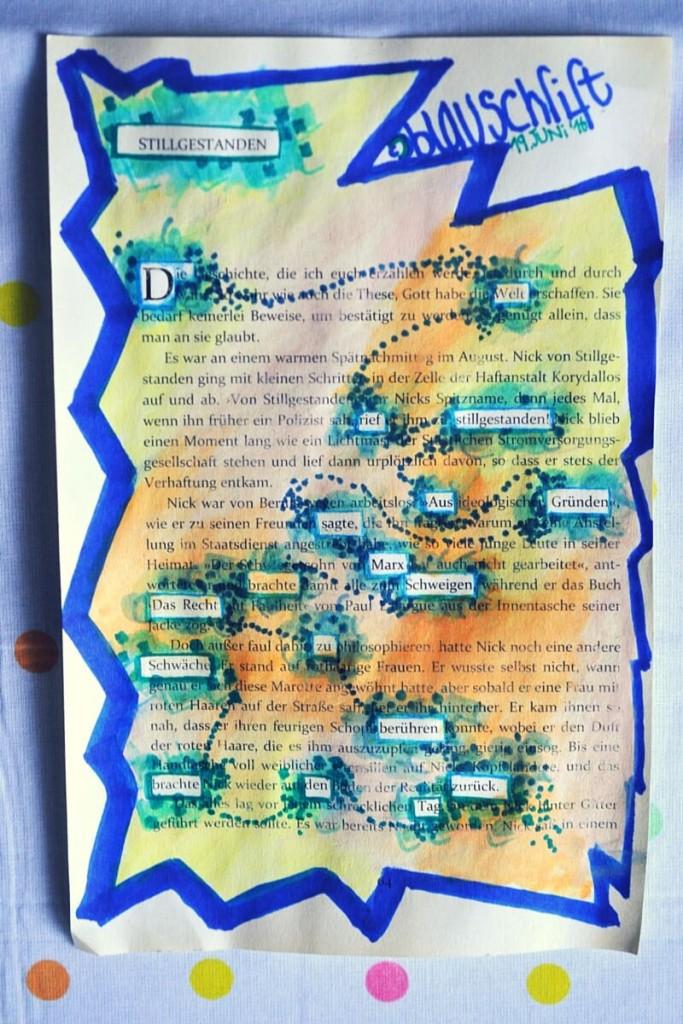 Blackout Poem / versteckter Vers von das A&O: gelb mit blauer Umrandung
