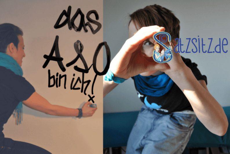 Zwei Bilder, links: das A&O malt Schriftzug an die Wand. Rechts: das A&O benutzt das Satzsitz Logo als Fernrohr