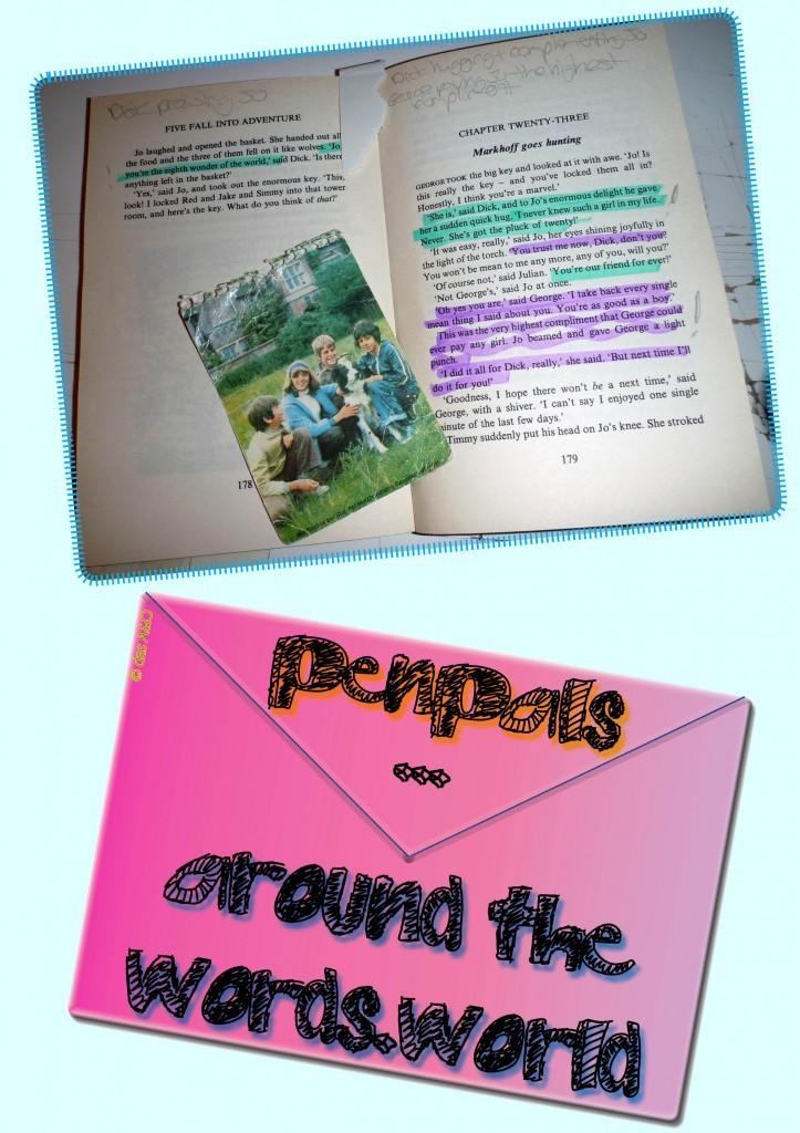 """Aufgeschlagenes Buch und Bild der """"Fünf Freunde"""". Darunter ein pinker Briefumschlag."""