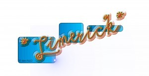 Limerick-Schriftzug in Orange auf blauen Hintergrundkästen