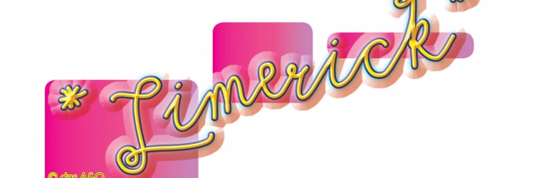 Limerick Logo, gelbe Schrift auf pinkem Hintergrund