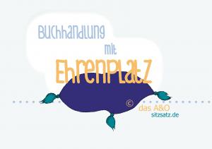Illustration: gemütliches lila Sitzkissen von das A&O. Beschriftung: Buchhandlung mit Ehrenplatz