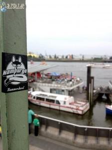 Hammerhart-Sticker der Beginner vor dem Hamburger Hafen