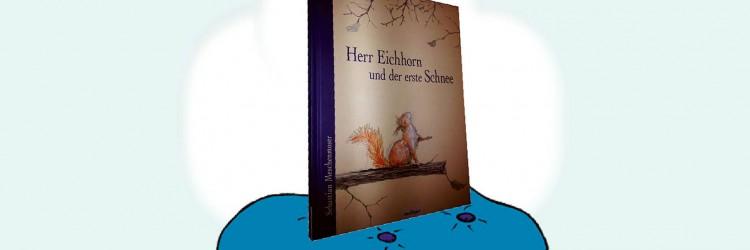 """Buchcover von """"Herr Eichhorn und der erste Schnee"""" auf einem blauen Sitzkissen"""
