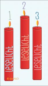 """Illustration von drei roten Kerzen mit der Aufschrift """"Leselicht"""" für den Brief """"Liebe Handschuhe"""""""