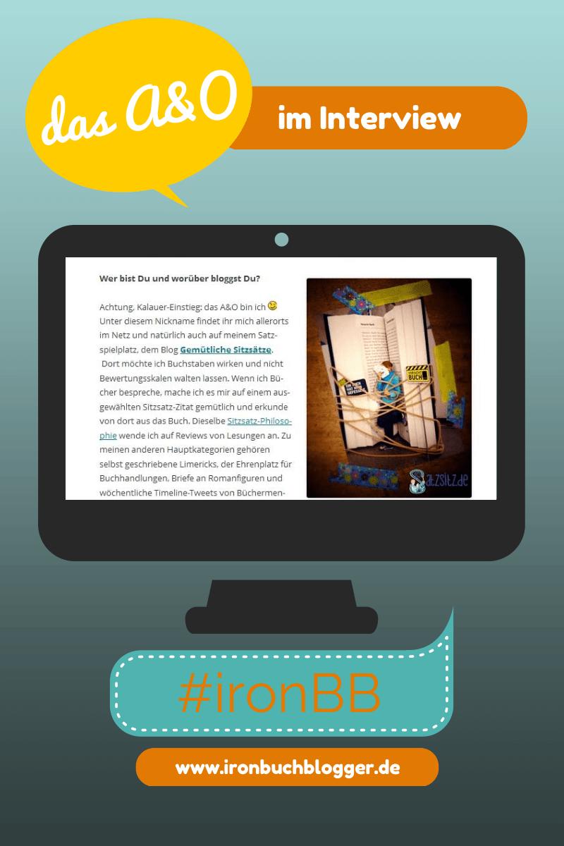 das A&O im Screen: Blau-orange Graphic, die auf einem Bildschirm den Screenshot vom Interview der Iron Buchblogger zeigt