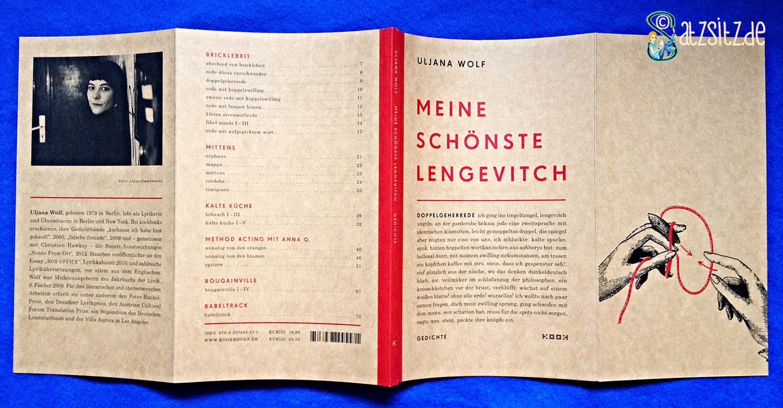 """Coverumschlag von Uljana Wolf """"schönster lengevitch"""": Pappoptik mit roten Akkzenten"""