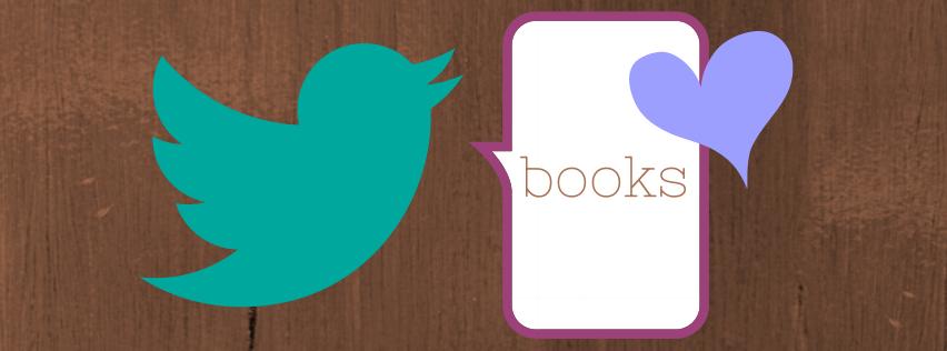 Twittervogel mit Büchersprechblase und blauem Herz auf dem Satzsitz