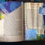 """Gedicht auf baluer Wolkenkarte, das """"zwischen den Zeilen"""" einer Kurzgeschichte steht"""