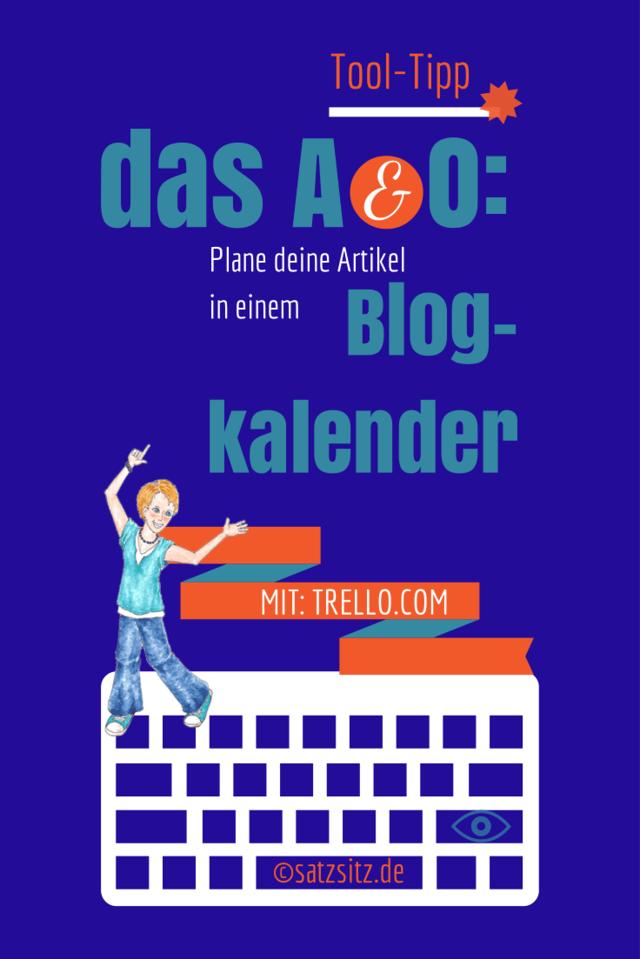 Blauer Hintergrund, Illustration von das A&O zeigt auf folgende Schrift: das A&O: Plane deine Artikel in einem Blogkalender.