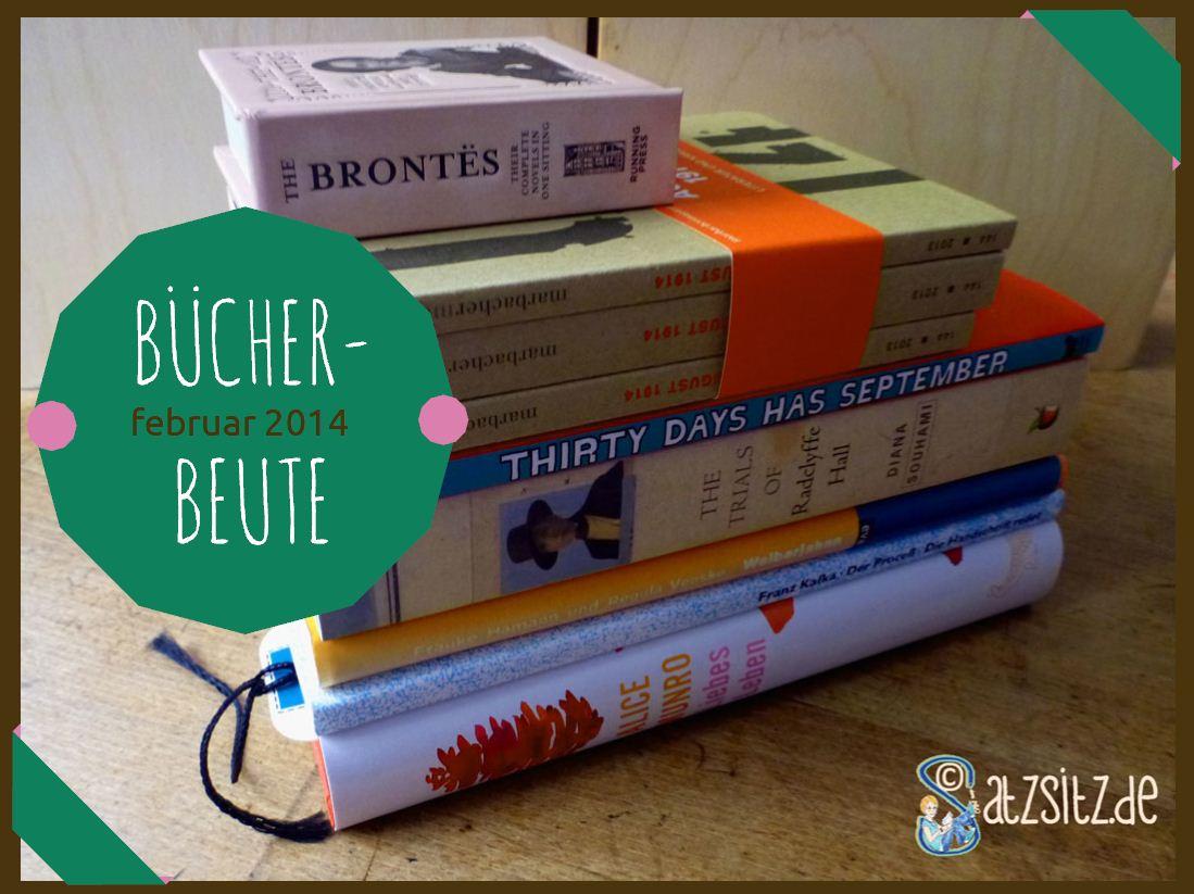 Ein Stapel aus neun Büchern auf einem Holztisch. Neue Bücher Februar 2014