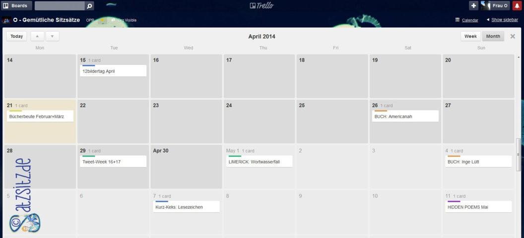 """Kalenderanicht der aktuell geplanten Blogbeiträge für """"Gemütliche Sitzsätze"""" von das A&O"""