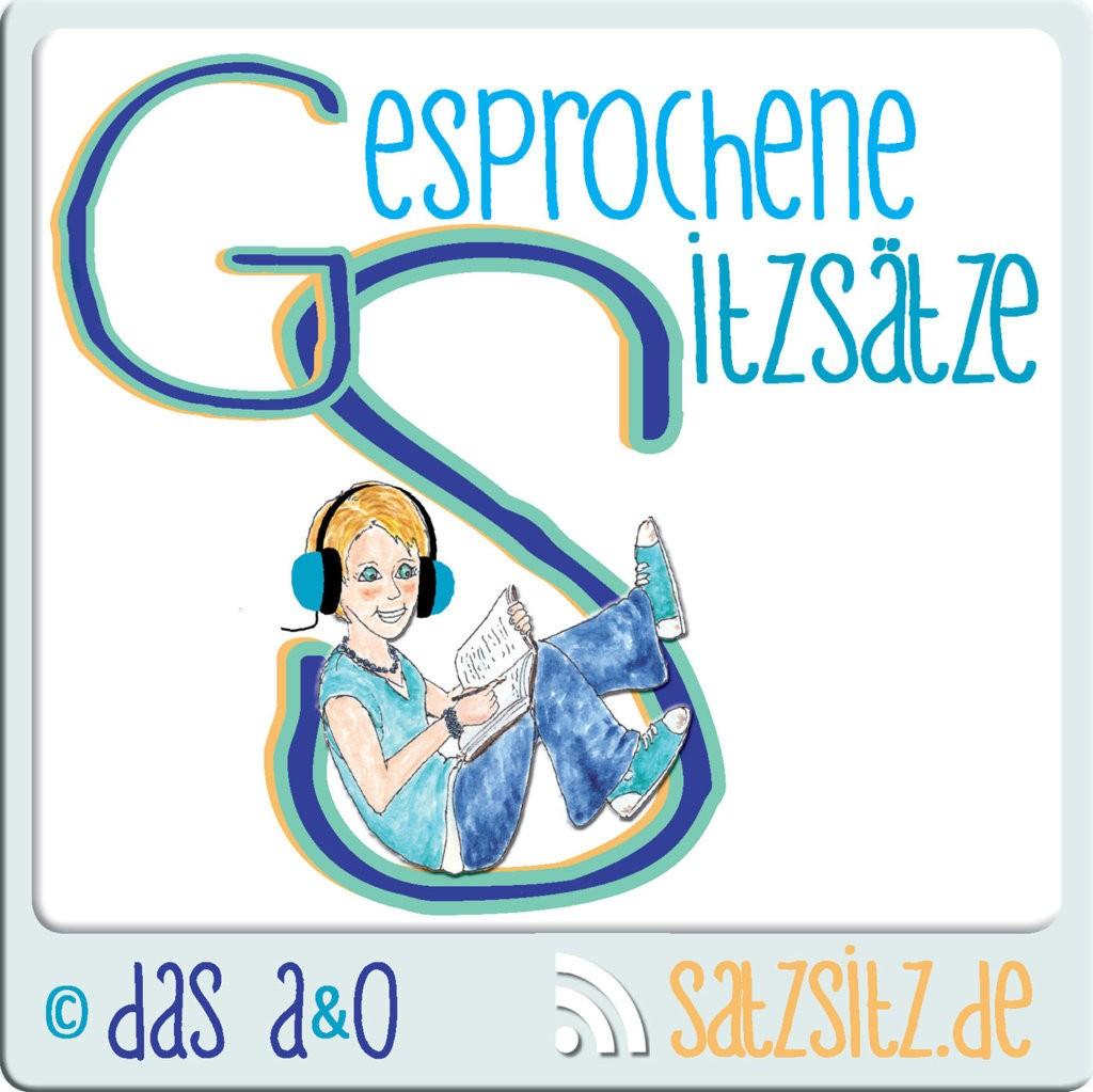Logo Literatur Podcast: das A&O sitzt mit Kopfhörern in einem S und schreibt