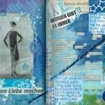 Upcycling Buch: das A&O klebt eine Collage mit Hidden Poem in ein Buch. Sehr blau.