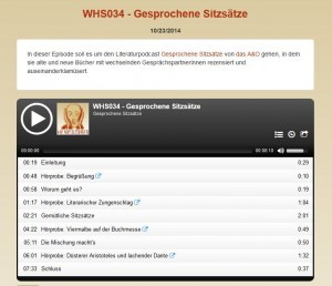 """Screenshot des Webplayers zu WHS034: Kapitelmarken der vertonten Übersicht zu """"Gesprochene Sitzsätze"""""""